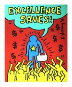 Keith Haring Excellence Saves 36 X 30.25 Serigraph 1990 Pop Art
