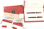 S.t. Dupont Olympio Laque Ecaille Chinese Lacquer Ballpoint Pen/fountain Pen Set