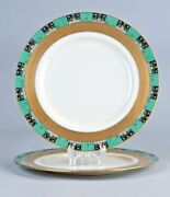 2 Antique Lenox X99-2 Dinner Plates Gold Encrusted Band 1923 Green Stamp