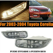 Pair Replacement Bumper Fog Light Driving Lamp Clear For 03 04 Toyota Corolla