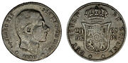 20 Cents / Peso. Ag. Alfonso Xii Philippines 1880. Vf
