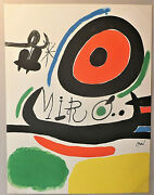 Affiche Lithographique Grand Format Joan Miro Signandeacutee 1970.