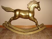 Large Brass Rocking Horse Vintage 36l - 29h - 81/2w 34lbs. Made For Brass