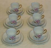 Westminster Australia Fine China 18pc Trio Set 250 Flower Gold Cup Plate Saucer