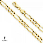 14k Yellow Gold 6.9 Mm Figaro 3+1 Concave Chain-8.5-22-26