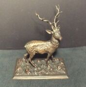 Victorian Bronze Of 12 Point Stag On Base