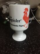 Vintage Milk Glass Footed Rooster Coffee Advertising Mug Cup The Chanticler