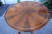 Inlaid Regency Style Rosewood Book Matched Round Center Accent Table