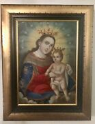Mexican Retablo Madonna And Child Oil Painting On Tin Metal Early 18th-19thc