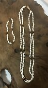 Freshwater Pearl And Garnet Necklace And Bracelet Set