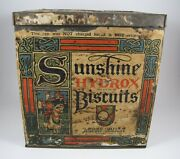 Antique Sunshine Hydrox Biscuits Loose Wiles Biscuit Company Tin Advertising