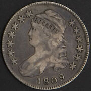 1809 Capped Bust Half Dollar Circulated Detail Vf Old Us Mint Silver Coin Scarce