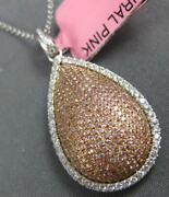 Large 1.05ct White And Pink Diamond 18kt White Gold 3d Tear Drop Floating Pendant