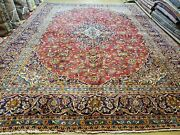 9and039 6x 13and039 4 Antique Handmade Vegetable Dye Floral Kashaan Area Rug Red Xlarge