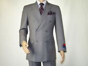 Men Apollo King Double Breasted Suit Classic Peak Lapel Dm23 Gray Free Shipping