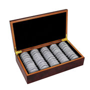 50pcs 46mm Coin Capsules Storage Box With Wooden Case Holder Collection Display