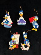 Lot Of 5 Vintage Donald Duck Hollowed Plastic Ornaments Decorations Christmas