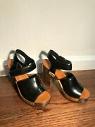 Rosetta Getty Ankle Strap Platform Sandal Womenand039s Us Size 7 In Black - Leather