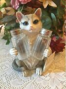 A Nib Adorable Cat Salt And Pepper Shake And Holder Hand