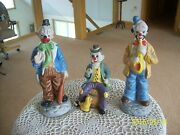 Enesco Emmit Kelly Collection Vintage Porcelain 3 Colorful Clown Figurines