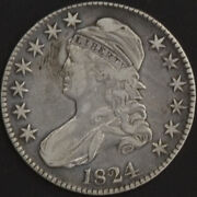 1824 Capped Bust Half Dollar Error Xf Toned Us Mint 50 Cent Silver Coin Scarce