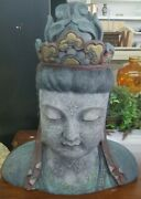 Large Vintage James Mont Style Hand Carved Wood Head Of Buddha