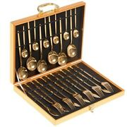 Modern Flatware Set Kitchen Gold Colored Large Cutlery Stainless Steel 24 Pieces