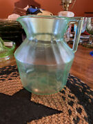 Vintage Green Depression Glass Ribbed Pitcher 8 1/2'' Tall