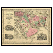 Middle East Map, 1866. Old Map Reprint, Linen Backed.