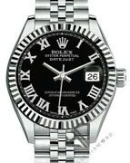 Ladyand039s 26mm Rolex Datejust Ss Jubilee Tm Black-silver Roman Numeral Dial Fluted
