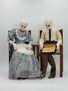 Vintage Antique Grandma And Grandpa Porcelain Dolls Sitting In Chairs Mexico