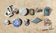 Lot Of 10 Vintage Sterling Silver Pins Service Pins Elks Moose Religious And