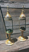 Pair 18 Antique Eastern Orthodox Liturgical Candle Holders Altar Top Sanctuary