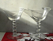 Imperial Art Deco Ball Stem Candlewick Pattern Cosmo 4.75 Tall Martini Glasses