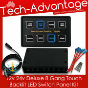 12v 24v 8 Gang Led Backlit Touch Switch Circuit Breaker Panel - Boat/caravan