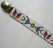 Vintage Native American Hand-beaded Flag Belt W Brass Turqouise Buckle Sz Xl