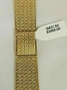 14k Gold Watch Band Bracelet Fits 20mm Watch 7 1/4 In Length Made In Italy