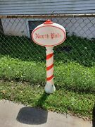 Vintage North Pole Sign Blow Mold 45 Candy Cane Stripe Santa Christmas Sign