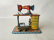 Vintage 1950and039s Tin Wind-up Sewing Machine Toy Lithographed Japan By Marusan