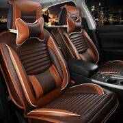 Deluxe Pu Leather Car Seat Cover 5-seats Suv Front And Rear Cushions W/pillows Set
