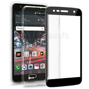2.5d Rounded Edges Tempered Glass Screen Protector Tpu Case For Lg X Charge M322