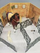 American Girl Horse, Barn/stable, Fence And Accessories- Lot- Shovel, Rake And More