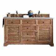 Savannah 60 Double Vanity Cabinet Driftwood With 3 Cm Charcoal Soapstone Qua...