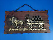 Vintage Brass 3d Beer Barrels Horse And Carriage 14''x7'' Rustic Wood Frame F/s