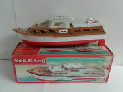 Vintage Sea King Battery Operated Inboard Cabin Cruiser Toy Boat Made In Hong