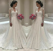 Vintage V Neck Wedding Dresses White Ivory Bridal Gowns Lace Long Sleeves A Line