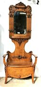 1890's Quarter Sawn Oak Hall Tree With Storage, Country / General Store