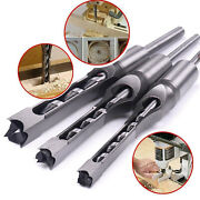 Pack Of 3 Square Hole Drill Bits Mortise Chisel Set Wood Auger Saw Mortising Bit