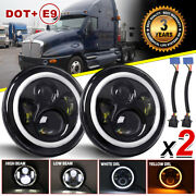 2pcs 7inch Halo Angel Eyes Led Projector Headlights For Kenworth T2000 1998-2010