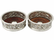Vintage Elizabeth Ii Pair Of Electroplated And Sterling Silver Bottle Coasters